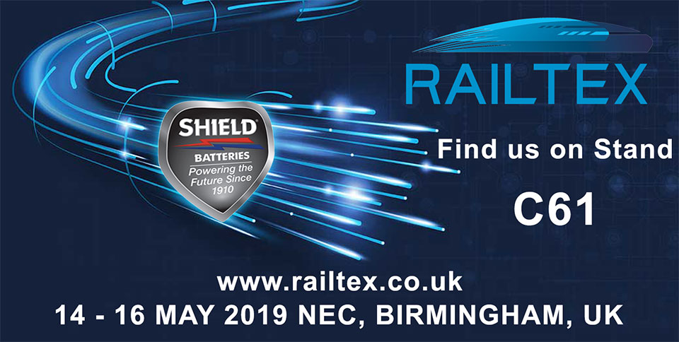 Shield Batteries To Exhibit At Birmingham NEC Railtex 2019